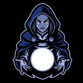 Mascotte de dame sorcière avec boule de verre magique
