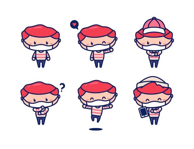 Mascotte décontractée de jeune personnage masculin mignon avec un masque facial d'usure de cheveux rouges pour empêcher le virus