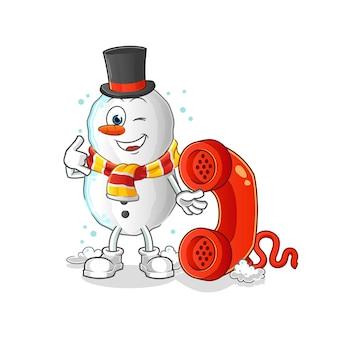 Mascotte de dessin animé appel bonhomme de neige