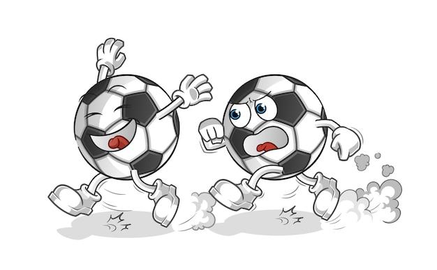 Mascotte de dessin animé de balle jouer chasse dessin animé