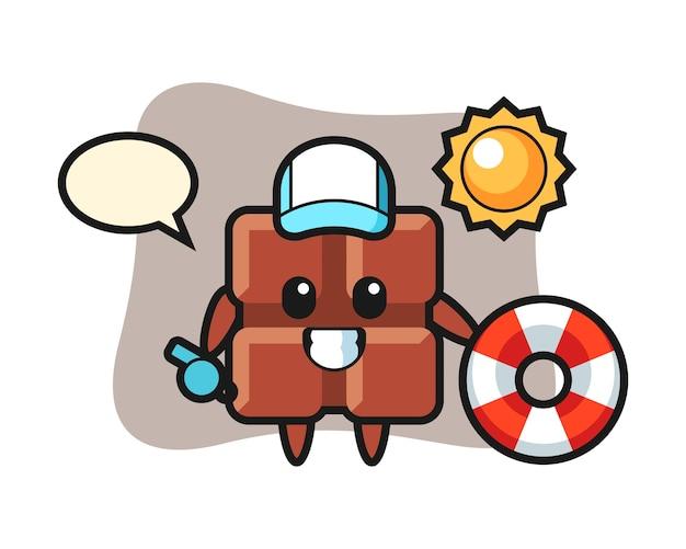Mascotte de dessin animé de barre de chocolat comme garde de plage, style kawaii mignon.