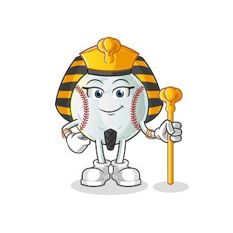 Mascotte de dessin animé de baseball egypte ancienne