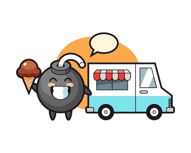 Mascotte de dessin animé de bombe avec camion de crème glacée