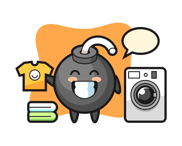 Mascotte de dessin animé de bombe avec machine à laver