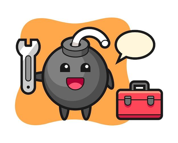 Mascotte de dessin animé de bombe en tant que mécanicien