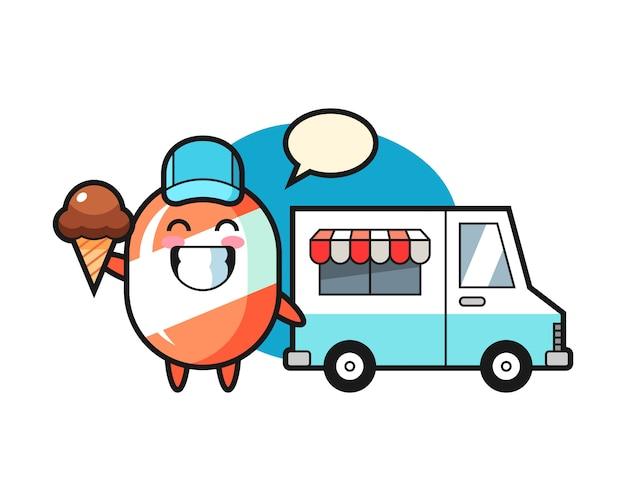 Mascotte de dessin animé de bonbons avec camion de crème glacée