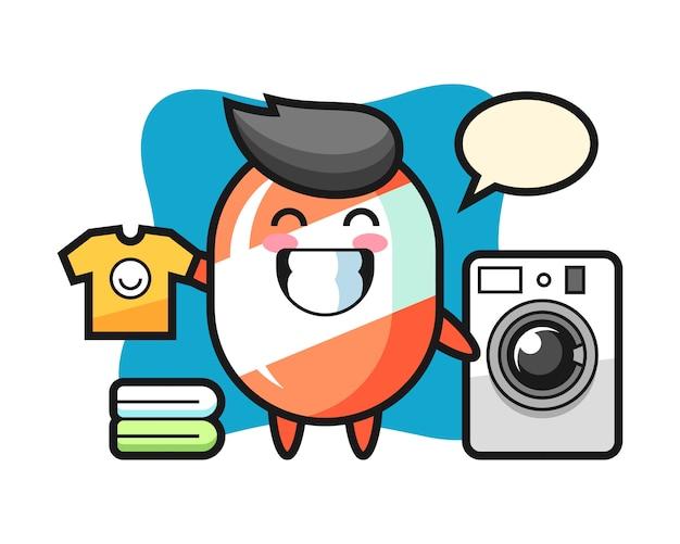 Mascotte de dessin animé de bonbons avec machine à laver
