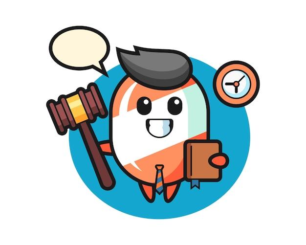 Mascotte de dessin animé de bonbons en tant que juge