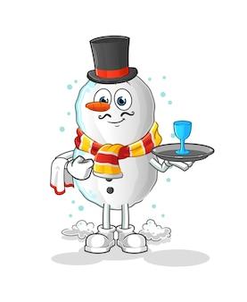 Mascotte de dessin animé de bonhomme de neige serveur dessin animé