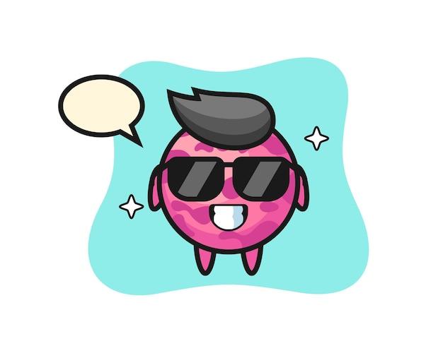 Mascotte de dessin animé de boule de crème glacée avec un geste cool, design de style mignon pour t-shirt, autocollant, élément de logo
