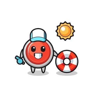 Mascotte de dessin animé de bouton de panique d'urgence en tant que garde de plage, design mignon
