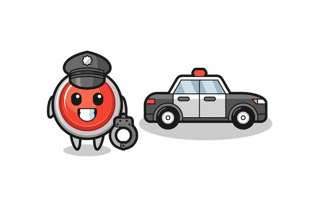 Mascotte de dessin animé de bouton de panique d'urgence en tant que police, design mignon