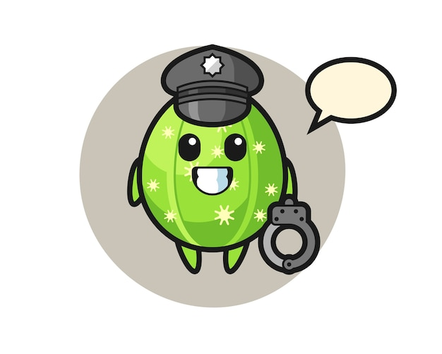 Mascotte de dessin animé de cactus comme police
