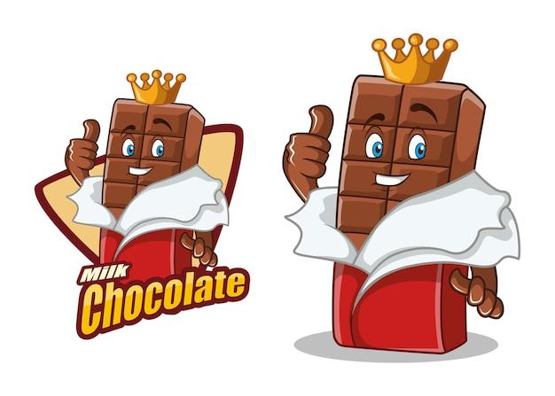 Mascotte de dessin animé de caractère chocolat