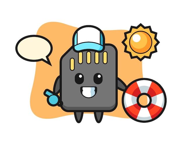 Mascotte de dessin animé de carte sd comme garde de plage, conception de style mignon pour t-shirt