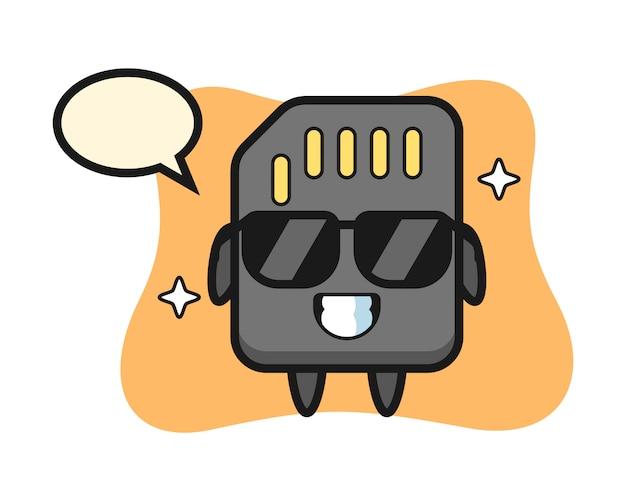 Mascotte de dessin animé de carte sd avec un geste cool, conception de style mignon pour t-shirt