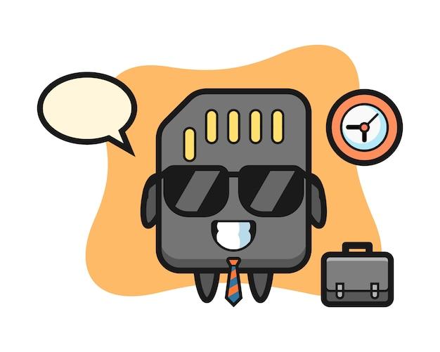 Mascotte de dessin animé de carte sd en tant qu'homme d'affaires, conception de style mignon pour t-shirt