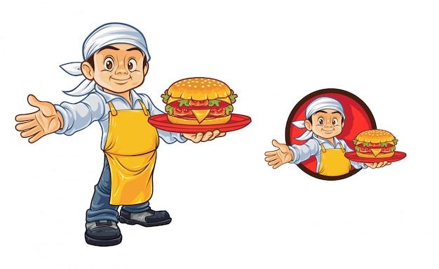 Mascotte de dessin animé chef burger