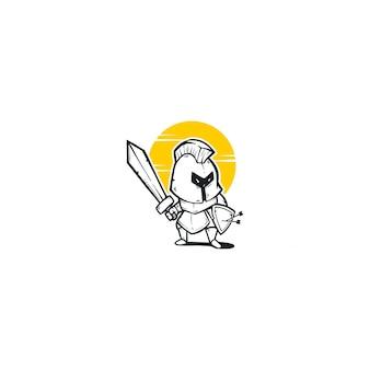 Mascotte de dessin animé chevalier empereur illustration