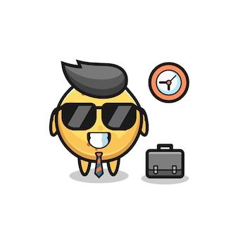 Mascotte de dessin animé de chips de pomme de terre en tant qu'homme d'affaires, design mignon