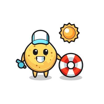 Mascotte de dessin animé de chips de pomme de terre en tant que garde de plage, design mignon