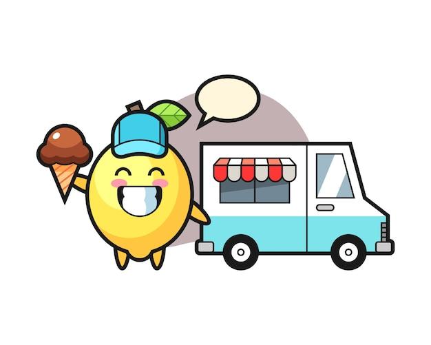 Mascotte de dessin animé de citron avec camion de crème glacée