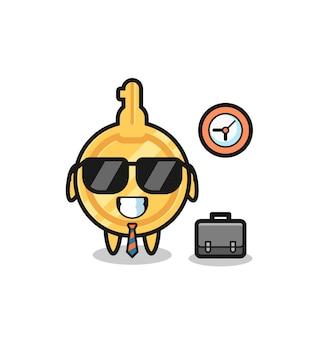 Mascotte de dessin animé de clé en tant qu'homme d'affaires, design mignon