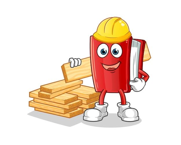 Mascotte de dessin animé de constructeur de livre rouge