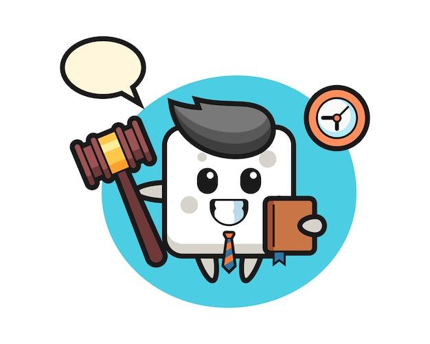Mascotte de dessin animé de cube de sucre en tant que juge, style mignon pour t-shirt, autocollant, élément de logo