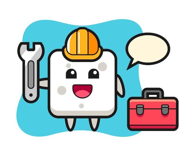 Mascotte de dessin animé de cube de sucre en tant que mécanicien, style mignon pour t-shirt, autocollant, élément de logo