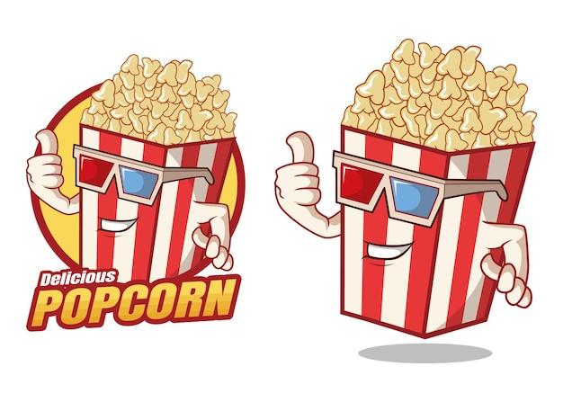 Mascotte de dessin animé délicieux pop-corn