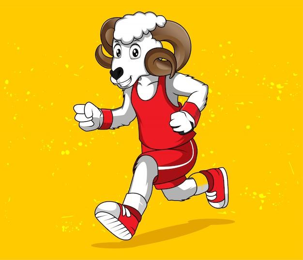 Mascotte de dessin animé drôle de mouton en cours d'exécution. illustration vectorielle