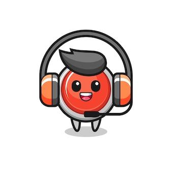 Mascotte de dessin animé du bouton de panique d'urgence en tant que service client, design mignon