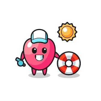 Mascotte de dessin animé du symbole du coeur en tant que garde de plage, design de style mignon pour t-shirt, autocollant, élément de logo