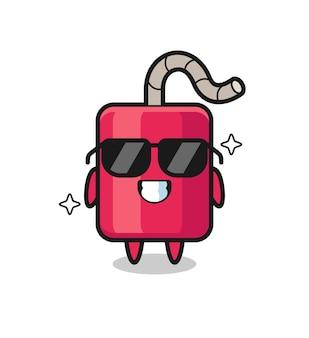 Mascotte de dessin animé de dynamite avec un geste cool, design de style mignon pour t-shirt, autocollant, élément de logo