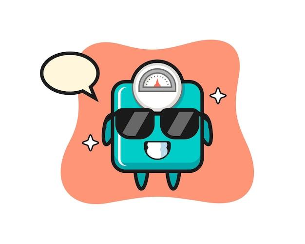 Mascotte de dessin animé d'échelle de poids avec un geste cool, design de style mignon pour t-shirt, autocollant, élément de logo