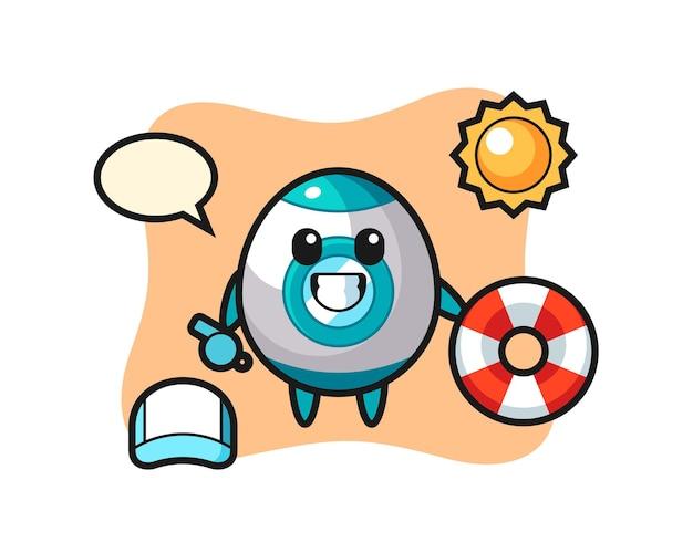 Mascotte de dessin animé de fusée en tant que garde de plage, design de style mignon pour t-shirt, autocollant, élément de logo