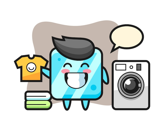 Mascotte de dessin animé de glaçon avec machine à laver