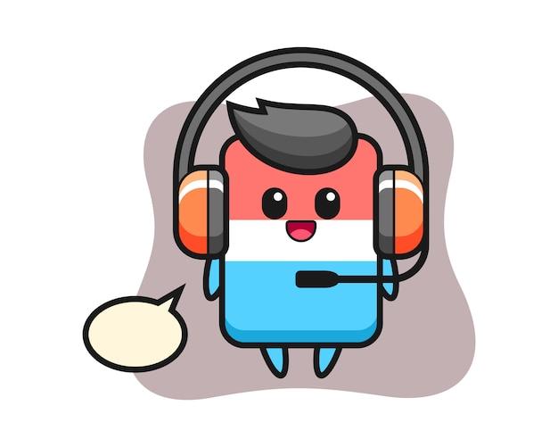 Mascotte de dessin animé de gomme en tant que service client, style mignon, autocollant, élément de logo