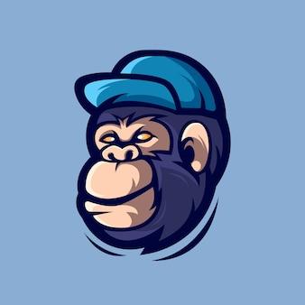 Mascotte de dessin animé de gorille isolée sur bleu