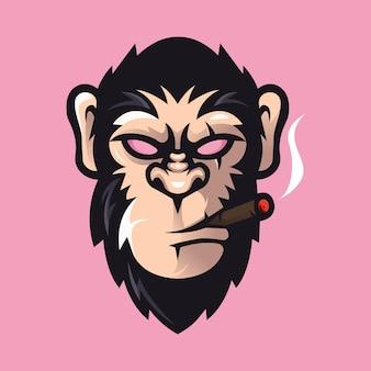 Mascotte de dessin animé de gorille isolée sur rose