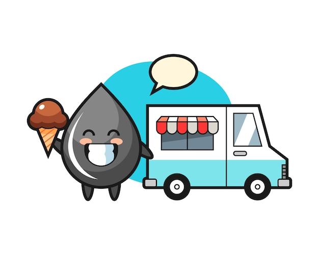 Mascotte de dessin animé de goutte d'huile avec camion de crème glacée