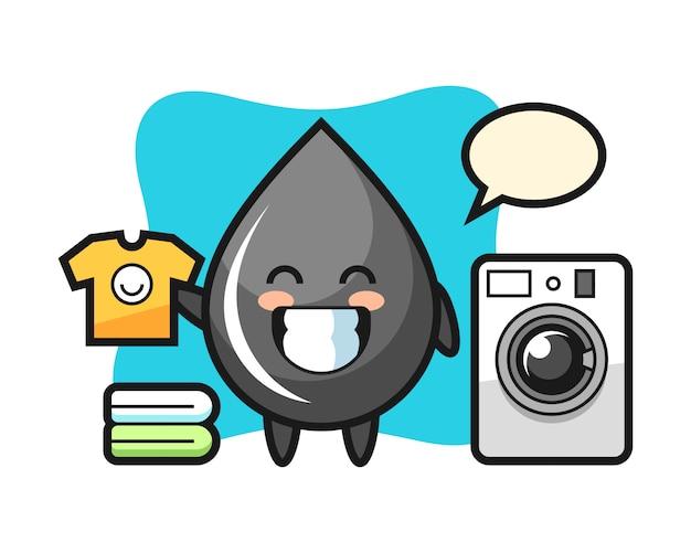 Mascotte de dessin animé de goutte d'huile avec machine à laver