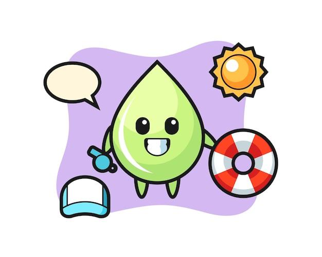 Mascotte de dessin animé de goutte de jus de melon en tant que garde de plage, design de style mignon pour t-shirt, autocollant, élément de logo