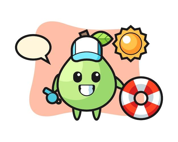Mascotte de dessin animé de goyave comme gardien de plage, style mignon pour t-shirt, autocollant, élément de logo