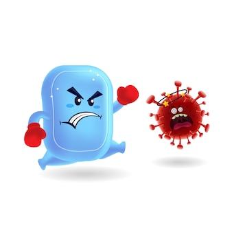Mascotte dessin animé illustration_cute savon vs rouge covid-19 corona virus_isolated