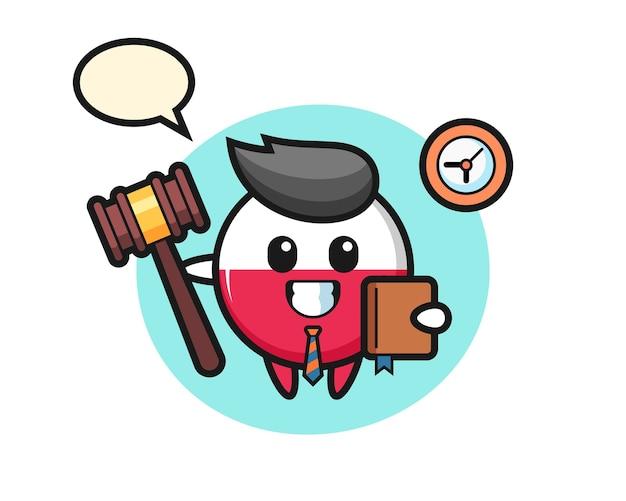 Mascotte de dessin animé d'insigne du drapeau de la pologne en tant que juge