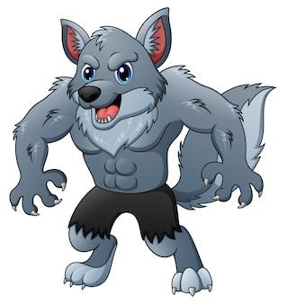 Mascotte de dessin animé loup-garou