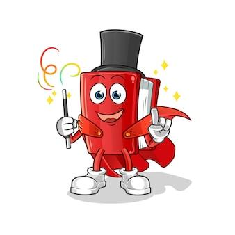 Mascotte de dessin animé magicien livre rouge