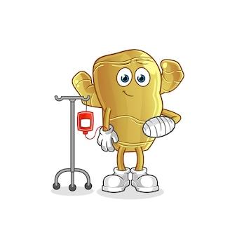 Mascotte de dessin animé malade de gingembre